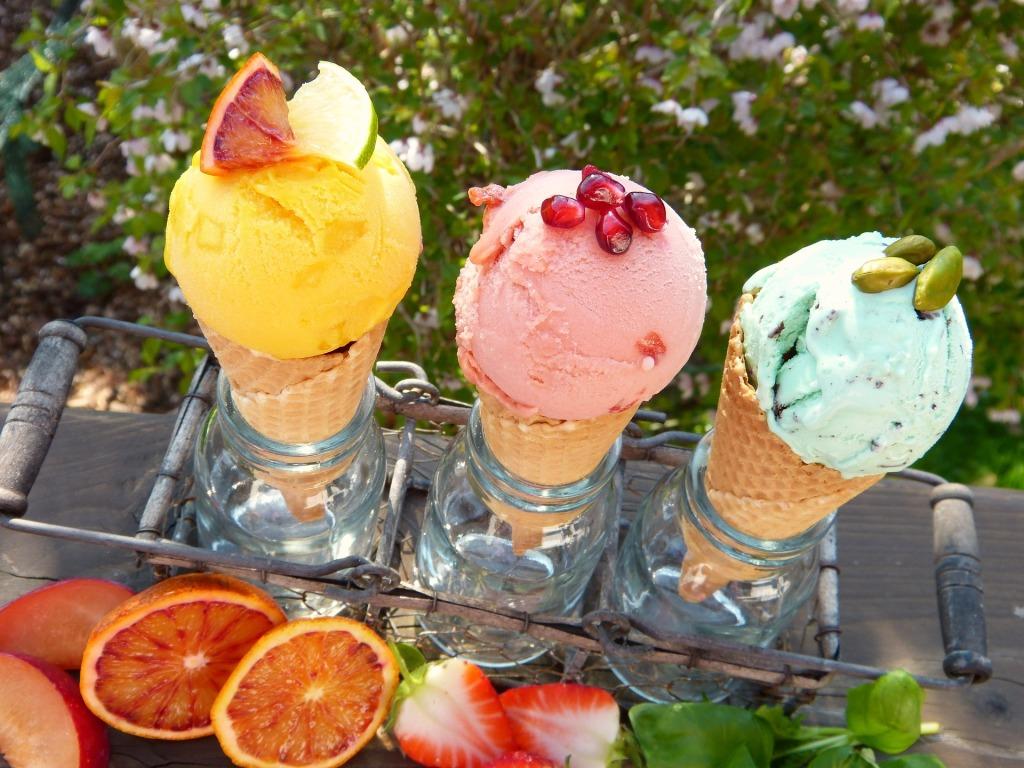Trio of ice cream cones